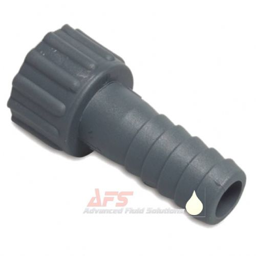 PP Grey 3/8 BSP Female Threaded Nut x 10mm Hose Tail (Polypropylene)